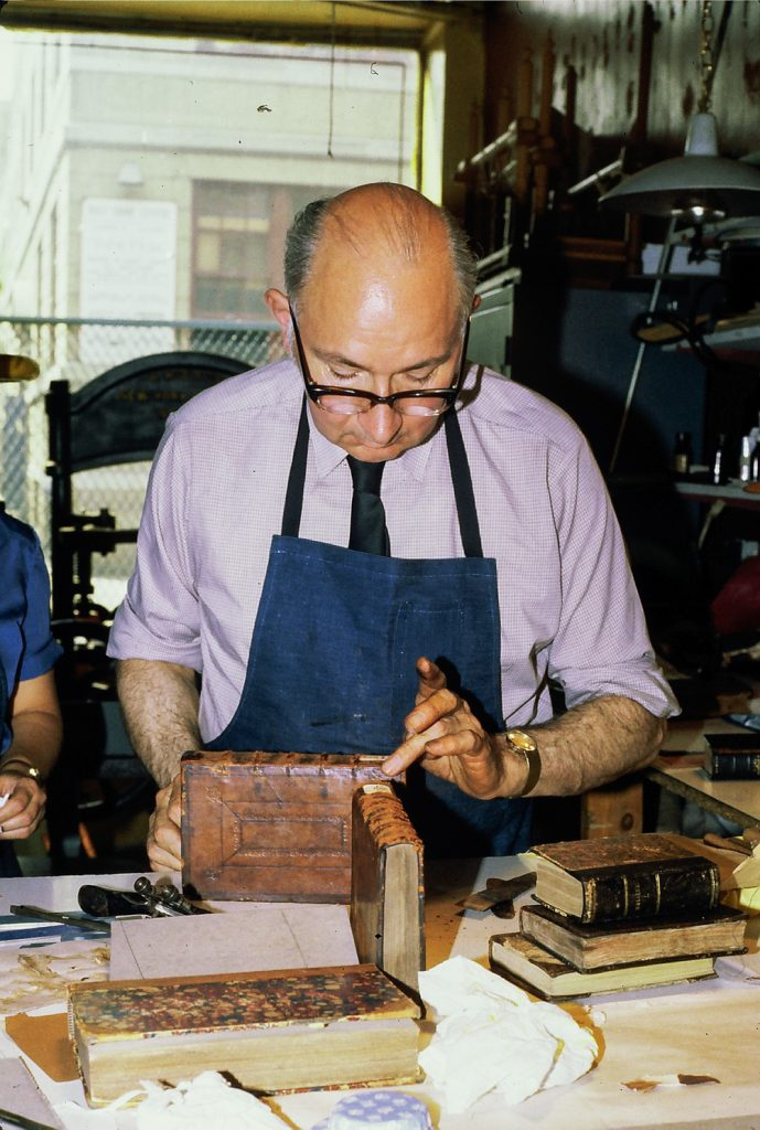 Bernard Middleton, Master Bookbinder, teaching at CBA, 1979